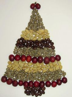 Merry Christmas. My coffee geek Christmas Tree. Coffee in all its phases: from ripe to parchment to green to roasted.