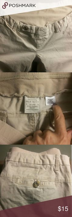 """Old Navy Maternity khaki pants Khaki pants from Old Navy Maternity. Full panel waist,  long length (33"""" inseam), with slightly flared leg.  In very good used condition.  No stains,  rips, or frays. Old Navy Pants Trousers"""