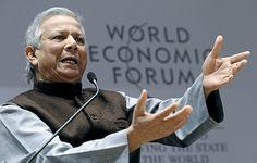 Yunus durante uma palestra do Fórum Econômico Mundial de Davos, na Suíça, em 2010