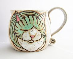 Child's Cup, Sm Cat Mug, pottery mug, child's Christmas gift, cat loaf mug, cat art , holds approx 10 oz, dishwasher and microwave safe.