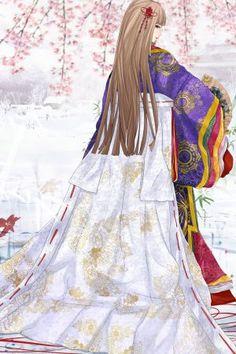 Character & Art (c) Hachiretsu Gosechi no Mai-hime Female Character Inspiration, Character Art, Character Design, Mai Hime, White Chrysanthemum, Heian Era, Happy Belated Birthday, Oriental, Dream Art