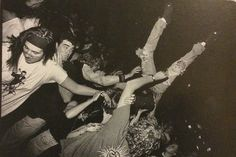 Kurt Cobain's special stage dive appearance during Mudhoney at the Croc, 1992. Photo by Charles Peterson