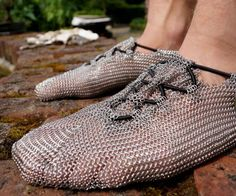 Chainmail Shoes Run barefoot without looking like a five toed idiot with these chainmail shoes. Constructed with a minimalistic stainless steel design these chainmail shoes are perfect barefoot running which . Outdoor Gadgets, Outdoor Gear, Skechers, Barefoot Running, Minimalist Shoes, Chain Mail, Geek Gifts, Just In Case, Metallica