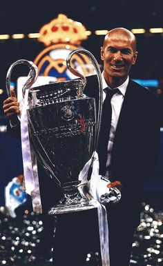 Zidane with the Uefa championship trophy