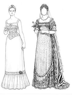 This set depicts the actual wedding gowns wore by six English princess brides from 1816 to 1947. Before Victoria's time, royal brides wore silver instead of the yards of satin in later years. 7 pages, $8. To see more, click here  http://www.fancyephemera.com/bridal.html#REAL%20PRINCESS%20BRIDES