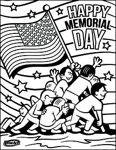 A Memorial Day Coloring sheet from RoseArt!  Just click print for an afternoon of festive art fun. www.facebook.com/RoseArt. Twitter: @RoseArtFun