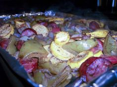 Herb Roasted Veggies and Conecuh Sausage.so easy and delicious. Adding mushrooms makes it even better! Conecuh Sausage Recipe, Smoked Sausage Recipes, Wine Recipes, Low Carb Recipes, Cooking Recipes, Healthy Recipes, Healthy Meals, Southern Recipes, Main Dishes