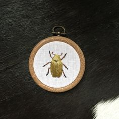 Small embroidery hoop, 3inch With hand embroidered Golden Scarab Beetle Chrysina resplendens