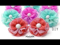 YouTube Handmade Flowers, Diy Flowers, Flowers In Hair, Fabric Flowers, Paper Flowers, Diy Hair Bows, Ribbon Hair, Baby Hair Bands, Diy Simple