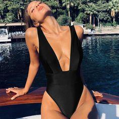 65496e408ce70 Women - High Cut Plunge Neck One Piece Swimsuit - 6 Colors