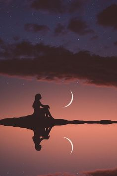 Alone 😑 girl wallpaper. Galaxy Wallpaper, Nature Wallpaper, Wallpaper Backgrounds, Creative Photography, Amazing Photography, Nature Photography, Beautiful Moon, Beautiful Images, Silhouette Fotografie