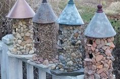 Hometalk :: These stone birdhouses are a wonderful addition to any garden and they…