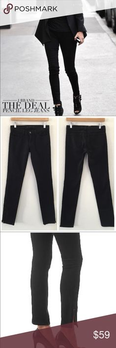 """🍾J Brand The Deal Skinny Jeans w/Ankle Zippers 26 🍾J Brand The Deal Skinny Jeans w/Ankle Zippers 26.  These jeans are incredible. Worn by celebrities these Style 9612 Jeans are in excellent condition and the color is Noir. Zippers at ankles. Size 26.   Waist: 16"""" flat across front. Inseam: 29"""". Length: 37"""". J Brand Jeans Skinny"""