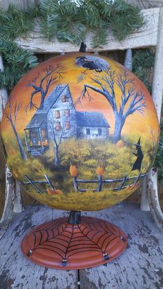 Globe DIY projects through the ages – - Halloween Suggestions Retro Halloween, Holidays Halloween, Halloween Crafts, Happy Halloween, Halloween Decorations, Halloween Scene, Halloween Goodies, Halloween Witches, Halloween Images