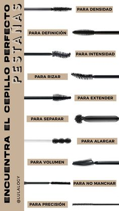 Find the ideal mascara for you.- Find the ideal mascara for you. Different types of eyelash brushes for different needs. Beauty tips. Makeup tips. Beauty Make-up, Beauty Makeup Tips, Beauty Hacks, Makeup Tricks, Skin Makeup, Makeup Brushes, Glow Makeup, Makeup Geek, Makeup Remover