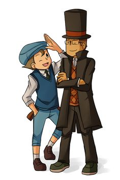 Older Luke and Layton: So cute! And... I'm not gonna lie. I think Hershel looks amazing with glasses. But maybe that's just cause I like a gentleman with glasses.