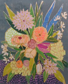 Pretty flower bouquet paintings