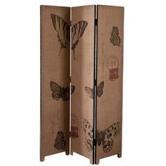 Fir wood-blend room divider with three butterfly-print burlap panels.     Product: Room divider  Construction Material: Fir, MDF and burlap   Color: Black and natural burlap  Features: Vintage style  Dimensions: 69.25 H x 47.75 W x 1 D (overall)