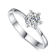 * Penny Deals * - FENDINA Womens 18K White Gold Plated Wedding Engagement Rings 6 Prong Round 1ct Created Diamond Solitaire Anniversary Promise Rings *** Click image for more details.