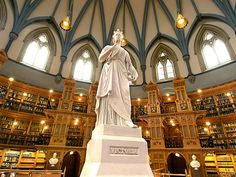 Library of Canadian Parliament, Ottawa, Canada - Built in was inspired by the British Museum Reading Room. Ottawa Canada, Ottawa Ontario, Beautiful Library, Home Libraries, Seven Wonders, Inspirational Books, Library Books, Reading Room, Countries Of The World