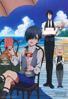 New art from Black Butler: Book of Circus (黒執事 Book of Circus) in Animedia Magazine This illustration by key animator Tomoko Sudo (須藤智子) was included on a fold-out poster. Black Butler Sebastian, Black Butler Anime, Black Butler 3, Ciel Phantomhive, Anime Guys, Manga Anime, Anime Art, Desenhos Love, Black Butler Characters