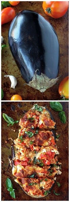 Skinny Sausage Parmesan Stuffed Eggplant - substitute bread crumbs with almond flour to make low carb.SO flavorful and healthy! A perfect Summer meal! Fun Cooking, Healthy Cooking, Healthy Eating, Cooking Recipes, Veggie Recipes, Healthy Recipes, Healthy Meals, Healthy Eggplant Recipes, Clean Eating Dinner