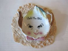 Vintage Tea Bag Holder  I hold the Bag by ElizabethJaneCottage