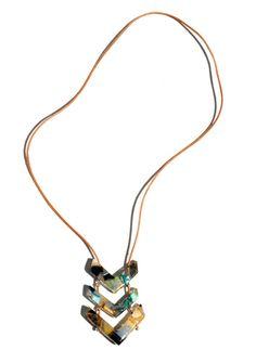 Chevron Confetti multi color resin pendant on leather by cocomias, $30.00