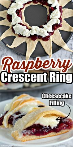 Raspberry Cream Cheese Crescent Ring is so simple to make and full of raspberry filling, sweetened cream cheese, and drizzled with frosting. Easy Desserts, Delicious Desserts, Dessert Recipes, Yummy Food, Breakfast Items, Breakfast Dishes, Raspberry Recipes, Raspberry Filling, Croissants