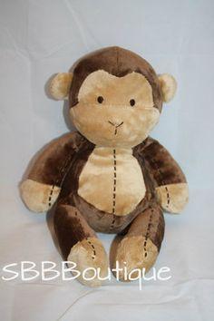 """10"""" Carters Tan Brown Stitched Plush Baby Monkey Rattle Stitching Soft Stuffed"""
