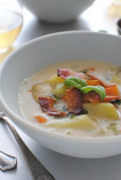 Creamy Potato Soup with Bacon and Basil / Bev Cooks | Soups and Stews ...