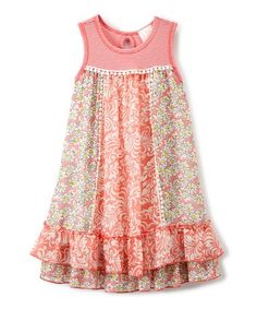 This Coral & Yellow Daisy Babydoll Dress - Girls is perfect! #zulilyfinds