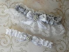 Silver Grey Floral and White Satin Lace Wedding Bridal Garter Set with Pearls