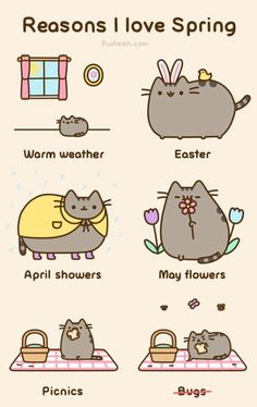 Reasons I Love Spring, pusheen.com