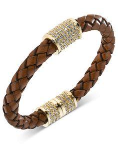 Michael Kors Bracelet, Gold-Tone Brown Braided Leather Crystal Pave Barrel Bracelet