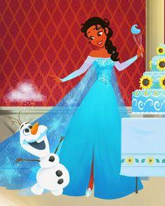 Dylan Bonner Disney Tiana as Elsa Disney E Dreamworks, Disney Pixar, Walt Disney, Disney Characters, Punk Disney, Disney Facts, Disney Fan Art, Disney Love, Disney Magic