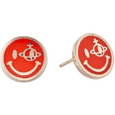 Vivienne Westwood Smiley Earrings (Neon Red) Earring ($85) ❤ liked on Polyvore featuring jewelry, earrings, post earrings, enamel jewelry, neon earrings, red jewellery and neon jewelry
