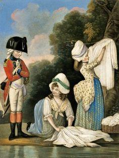 18C American Women: Women doing laundry in the 1700s 1782 Camp Laundry. Robert Sayer & J. Bennett. London