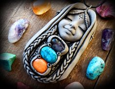 gemstone healing jewelry, healing stones, clay goddess necklace, sacred geometry…