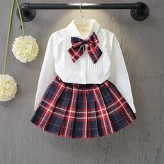 Girls Clothing Sets Preppy Style plaid shirt blouse for school girls White blouse Bow + Red Plaid Skirt 2 Pcs Suits Kids Clothes Cheap Girls Clothes, Dresses Kids Girl, Kids Outfits Girls, Toddler Girl Outfits, Toddler Girls, Kids Girls, Dresses For Babies, Skirts For Kids, Girls School