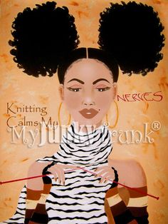 Knitting Calms My Nerves African American Natural by MyJunkyTrunk, $18.00