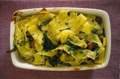 Papardelle στο φούρνο με σπανάκι και σύγλινο
