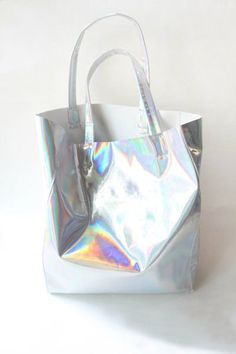 Holographic PU Leather Tote Handbag Shoulder by TransparentHeart, $39.00
