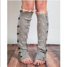 "IVY-ROSE plush beauties - GREY PRICE IS FOR ONE PAIRWrap you legs in the lacy knit comfort of our full button leg warmers. With hand-brushed acrylic yarn and buttons these open knit boot toppers will be your new favorite accessory! Materials: Crafted from 100% hand-brushed acrylic yarn Accommodates up to 19"" circumference calves Product Specifications Length: 21"" Circumference 10.5"" Accessories Hosiery & Socks"