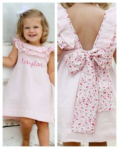 Pink Swiss Dot Josie Dress - Our popular Josie style dress is pretty in pink! This dress is pink swiss-dot fabric with a floral trim. The v-back has a floral bow at the bottom. This dress is pretty for any spring or summer occasion! Little Dresses, Little Girl Dresses, Girls Dresses, Dress Girl, Dot Dress, Kids Dress Patterns, Kids Frocks, Toddler Dress, Kids Outfits
