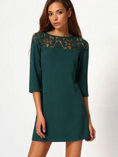 4b1ad1e39 Vestido cuello redondo con encaje -verde oscuro
