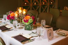 Table setup and centerpiece at Circa 1886 Restaurant wedding.