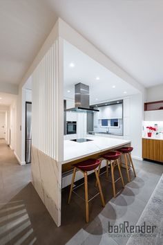 Kitchen island counter - White marble - Vertical ribs - Stools: HAY About a stool White Marble, Ribs, Stools, Counter, Kitchen Island, Conference Room, Divider, Construction, Table