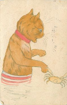 cat, wearing striped bottom, red collar, crab on paw ~Louis Wain (unsigned)