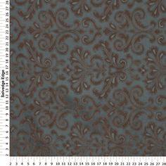 Lavish Brown on Teal Decorator Fabric Hancock's